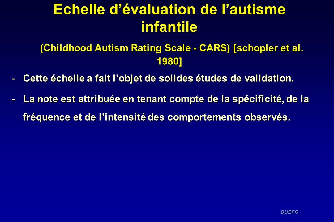 Echelle d'évaluation de l'autisme infantile (Childhood Autism Rating Scale - CARS) [schopler et al. 1980]